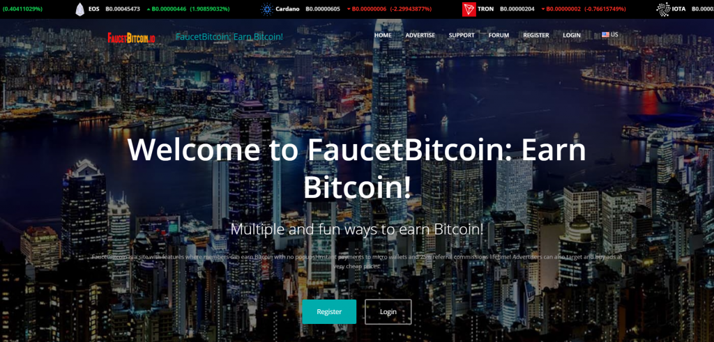 bitcoin faucet website main page