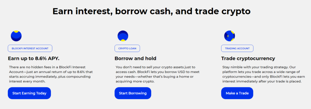 blockfi website for earning interest, borrowing cash and trading crypto