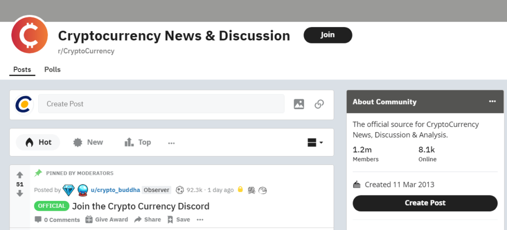 cryptocurrency sub reddit page